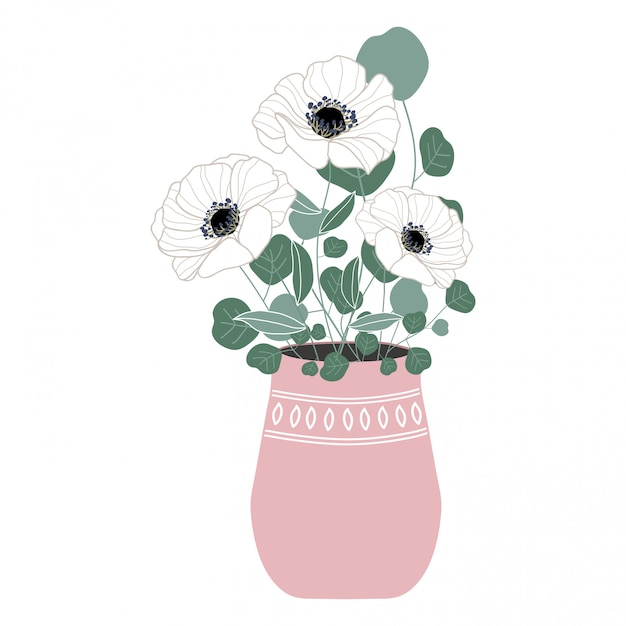 Flower bouquet vase illustration Premium Vector