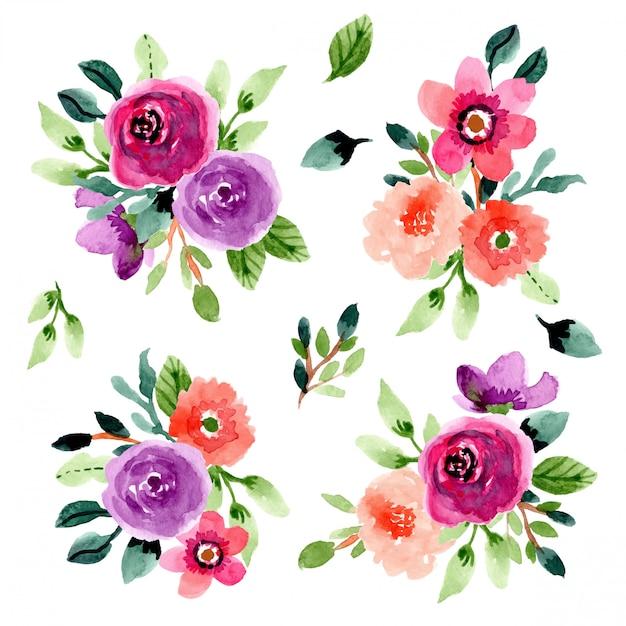 Flower bouquet watercolor collection Premium Vector