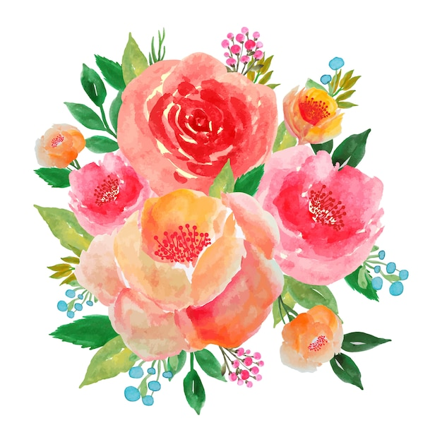 Flower bouquet watercolor peony and rose Premium Vector