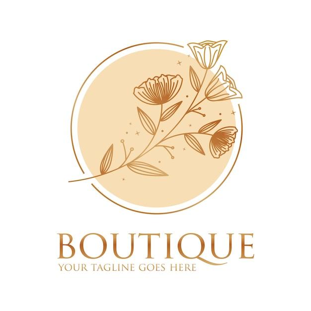 Цветочный бутик логотип значок шаблона Premium векторы