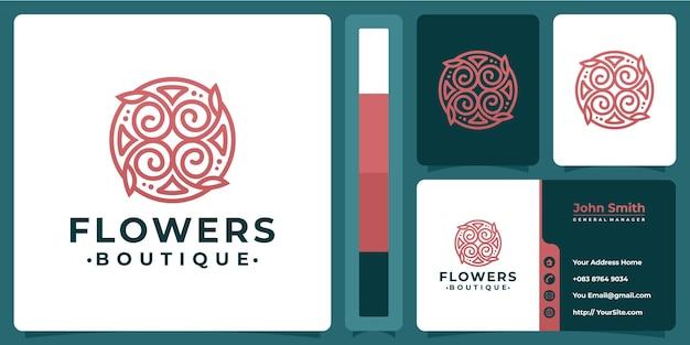 명함 디자인의 꽃 부티크 럭셔리 로고 프리미엄 벡터