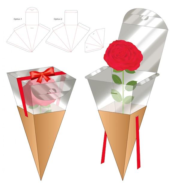 Flower box packaging die cut template design Premium Vector