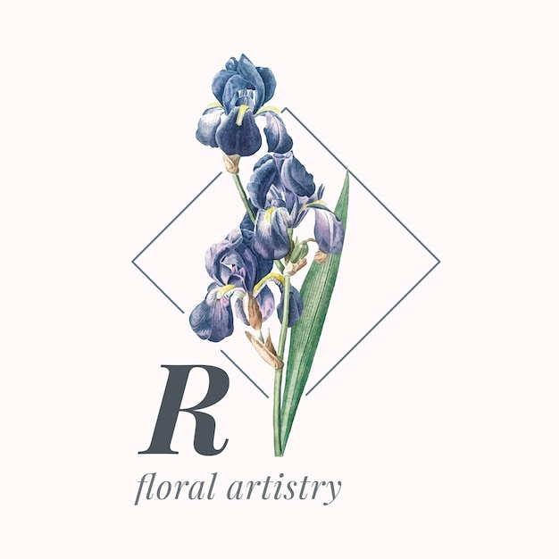 Flower brand logo template Free Vector