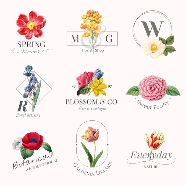 Flower brand logoset Free Vector