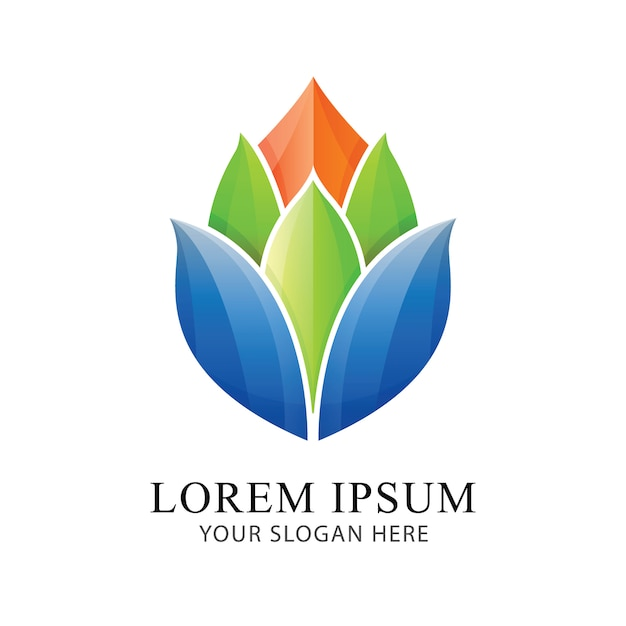 Flower bright logo identity beautiful brand design vector template. Premium Vector