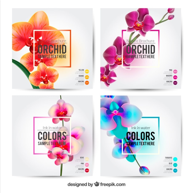 flower brochures template vector free download