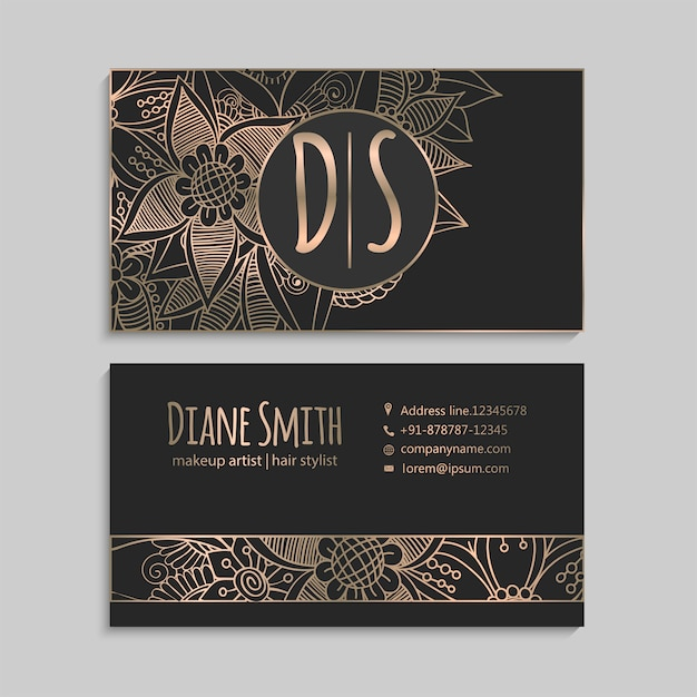 Flower business card template Free Vector