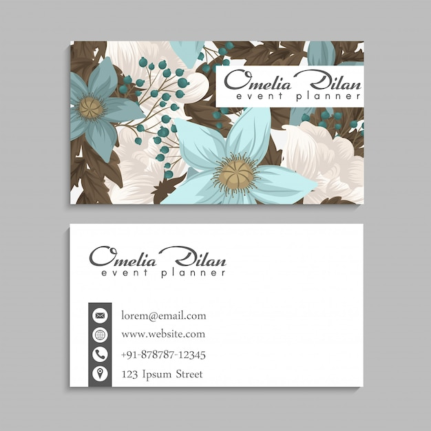 Flower business card Free Vector