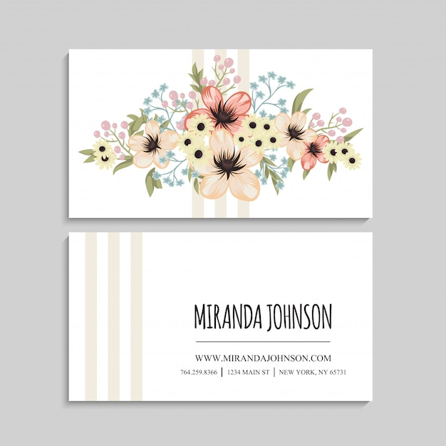 Flower business cards beige flowers template Free Vector