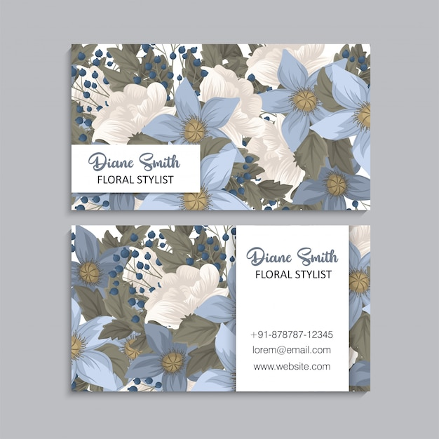 Flower business cards blue floral Free Vector
