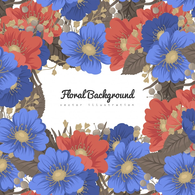 Flower business cards blue and red background Free Vector