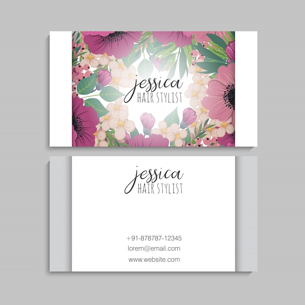 Flower business cards hot pink flowers Free Vector