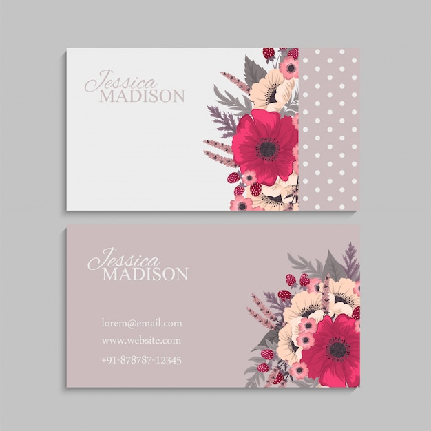 Flower business cards hot pink Free Vector