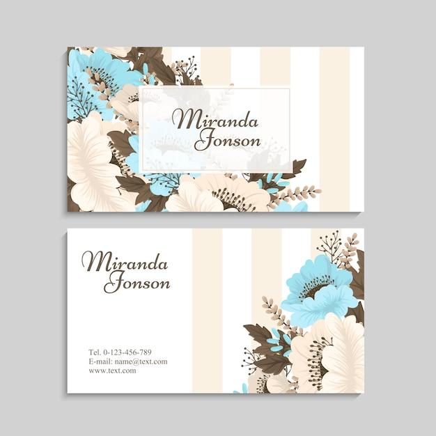 Flower business cards light blue Free Vector