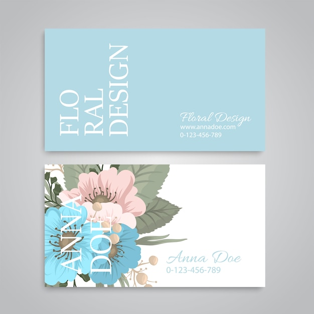 Flower business cards light blue Free Vector
