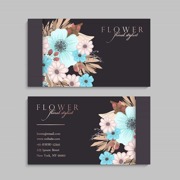 Flower business cards light blue Premium Vector