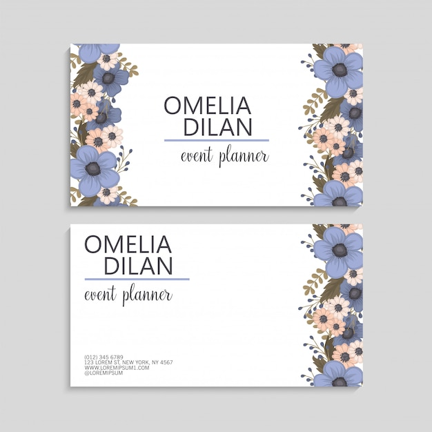 free vector  flower business cards light blue