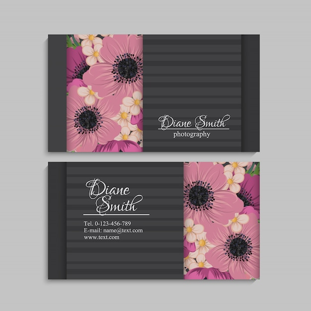 Flower business cards mint green Free Vector