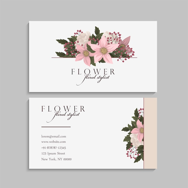 Flower business cards pastel flowers Free Vector