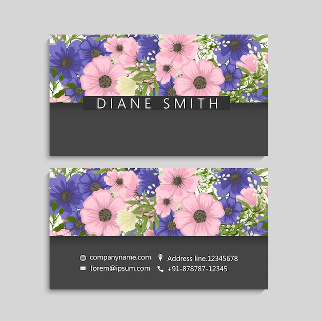 Flower business cards pink and blue flower Free Vector
