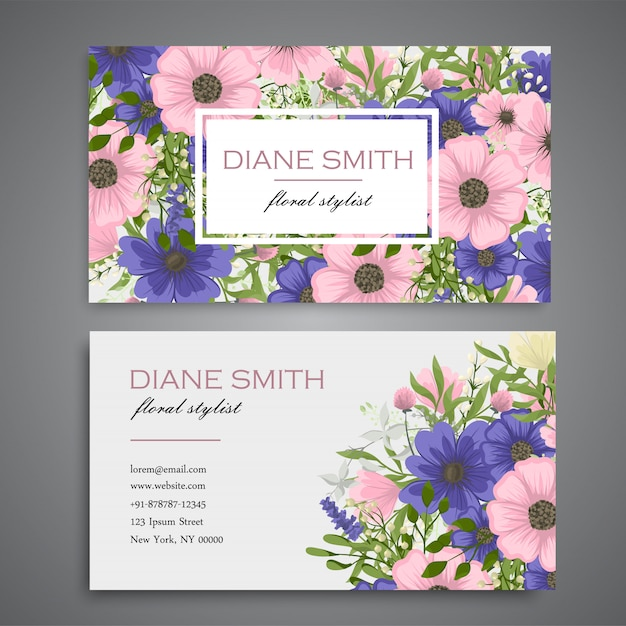 Flower business cards pink and blue flowers Free Vector