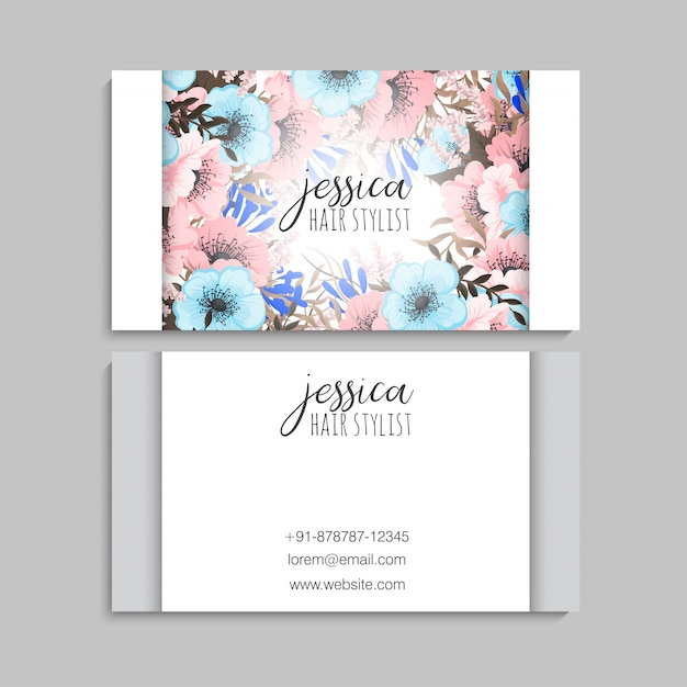 Flower business cards pink and blue flowers Premium Vector