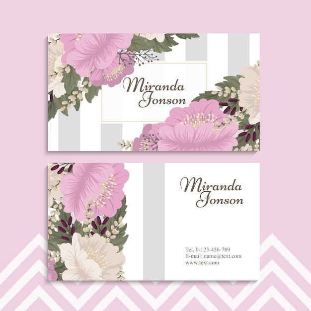flower business cards pink flowers  premium vector