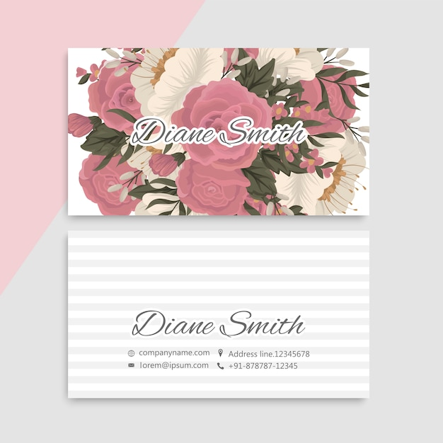 Flower business cards pink flowers Free Vector