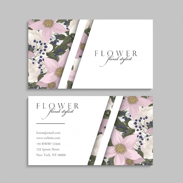 free vector  flower business cards pink flowers