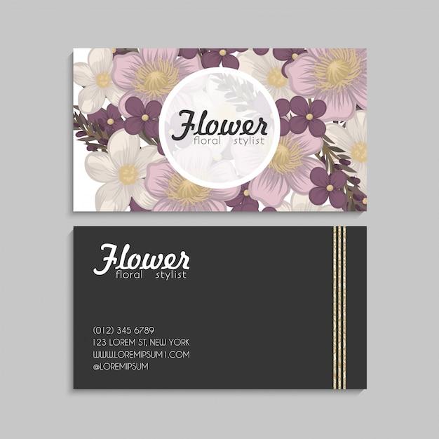 Biglietti da visita fiore fiori rosa Vettore gratuito