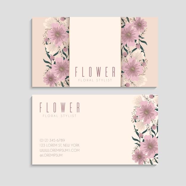 꽃 명함 핑크 꽃 프리미엄 벡터