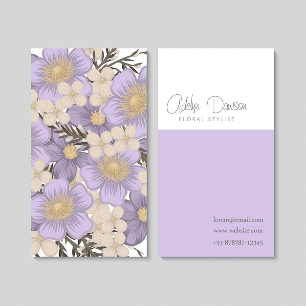 Flower business cards purple flowers Free Vector