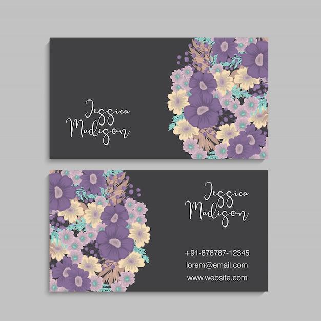 Цветочные визитки фиолетовые цветы Бесплатные векторы