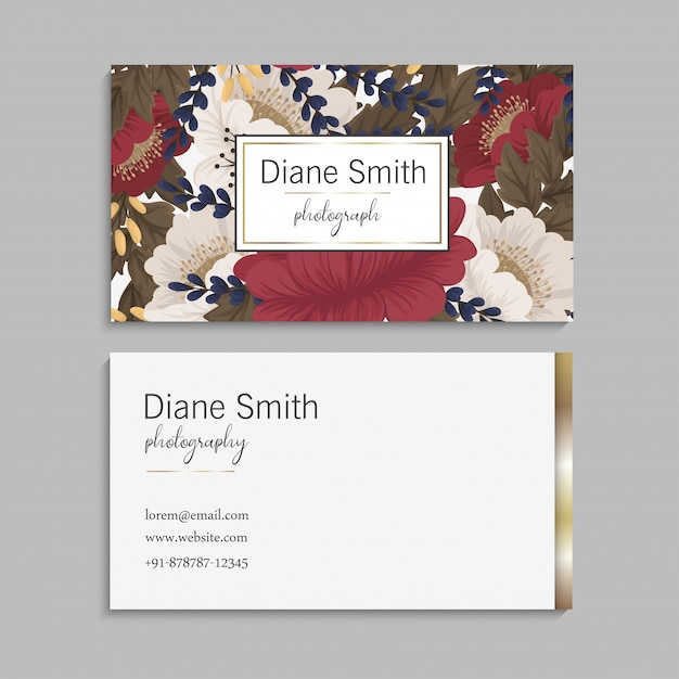 Flower business cards red flowers Free Vector