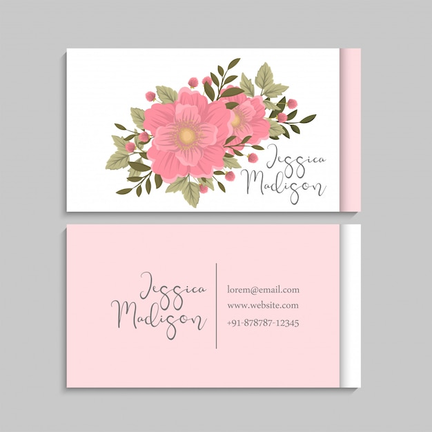 Flower business cards template pink Free Vector