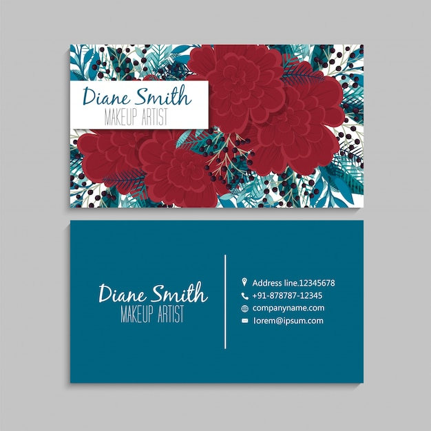 Flower business cards template red and mint green Free Vector
