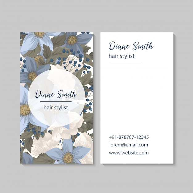 Flower business cards template Free Vector
