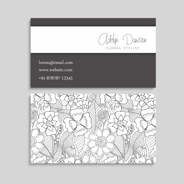 Flower business cards white and black Premium Vector
