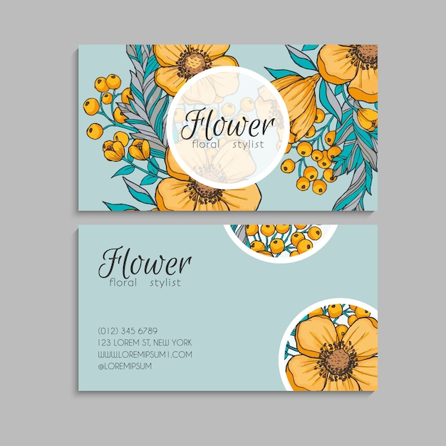 flower business cards yellow flowers  free vector