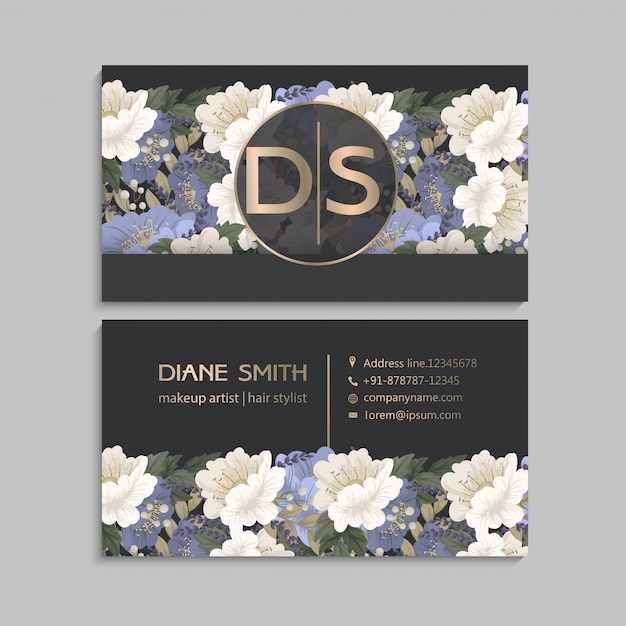 Flower business cards Free Vector