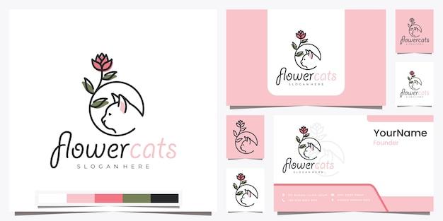 Premium Vector Flower Cats With Beautiful Line Art Logo Design Inspiration