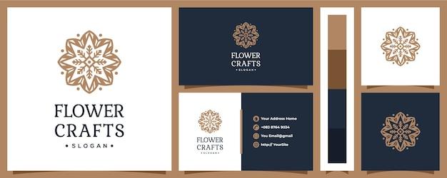 명함 개념 꽃 공예 장식 로고 디자인 프리미엄 벡터