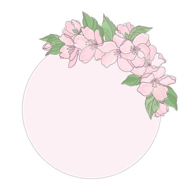 Flower decor frame Premium Vector