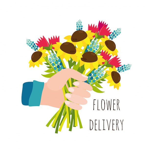 Flower delivery Vector | Free Download