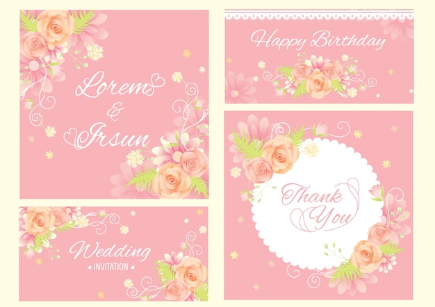 Flower design for template set on pink background. Premium Vector