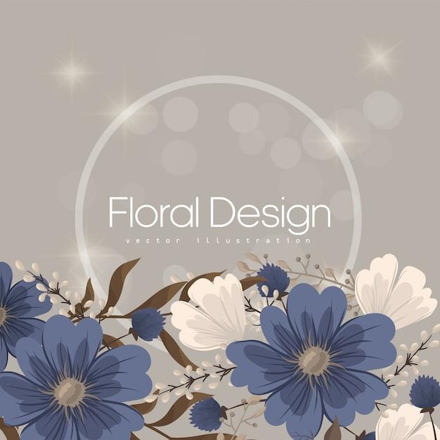 Flower designs border - blue flowers Free Vector