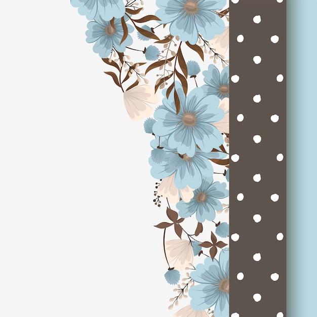 フラワーデザインボーダー-ライトブルーの花 無料ベクター