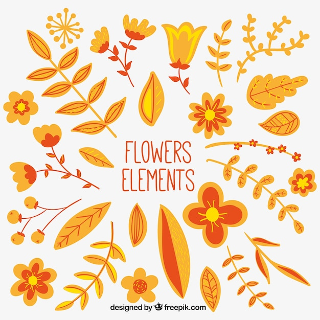Flower elements in orange and yellow\ tones