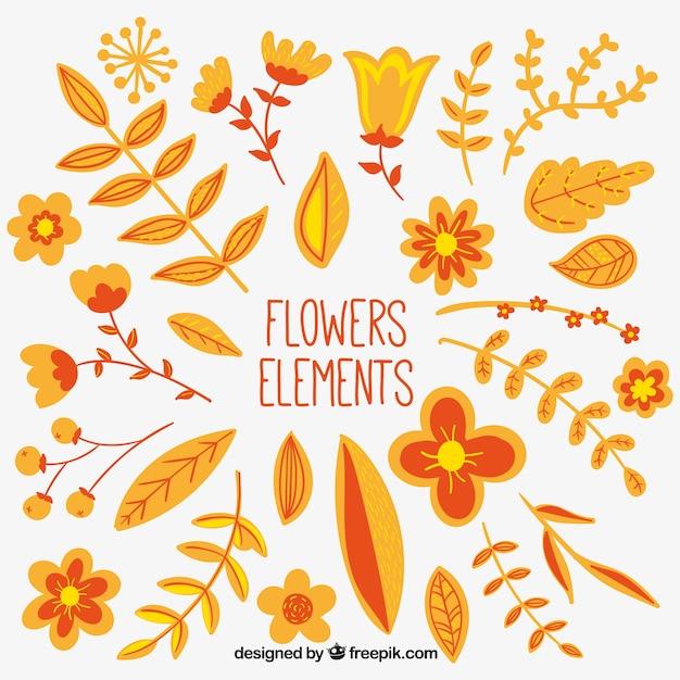 Flower elements in orange and yellow\ tones
