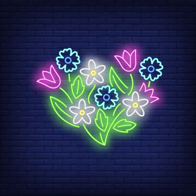 Flower emblem neon sign Free Vector